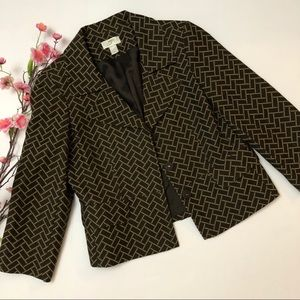 Ann Taylor LOFT size 8 Tan & Brown Print Blazer